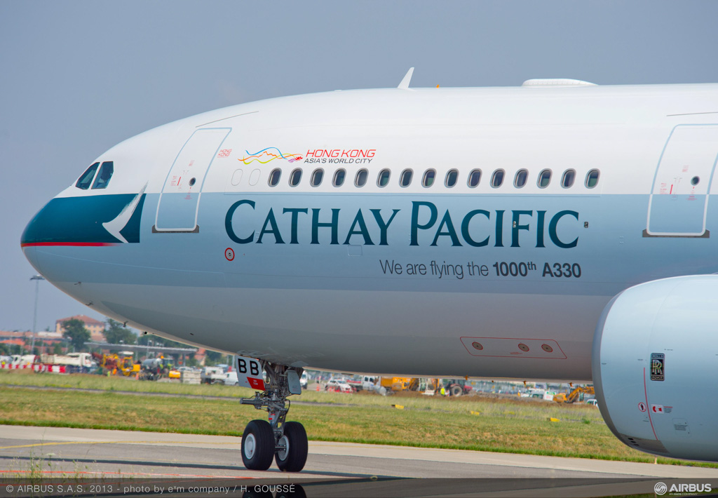 "B-LBB Airbus A330-343X (cn 1436) of Cathay Pacific, with ""We are flying the 1000th A330"" titles, at Toulouse - July 2013 © Airbus"