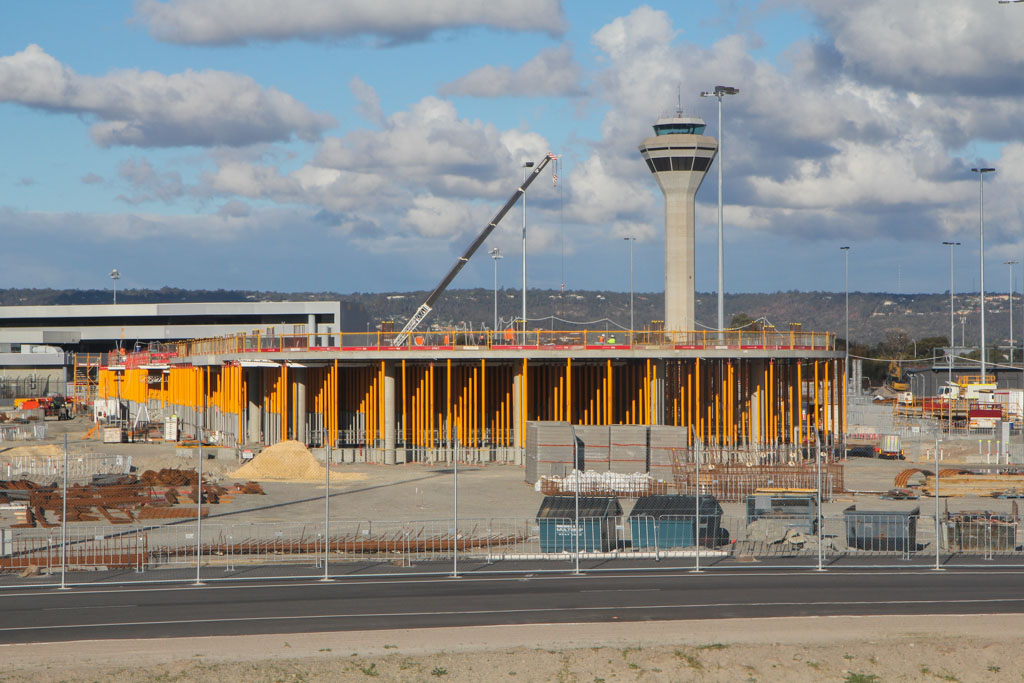 Domestic Pier under construction at Terminal 1 at Perth Airport - Tue 30 July 2013