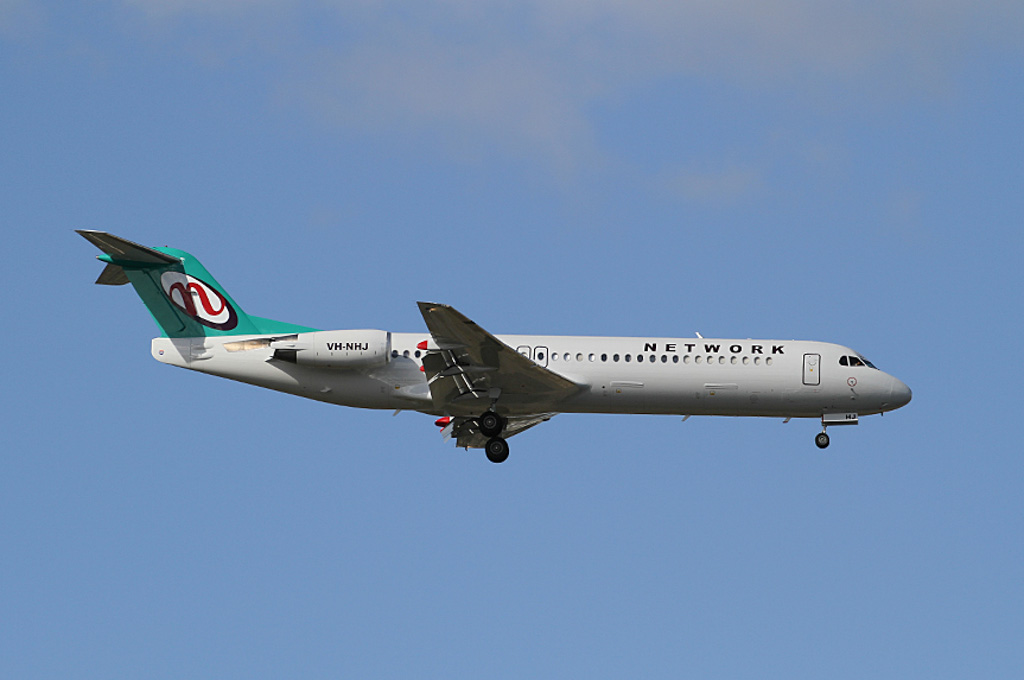 VH-NHJ Fokker 100 (MSN 11464) of Network Aviation at Perth Airport - Sun 11 August 2013.