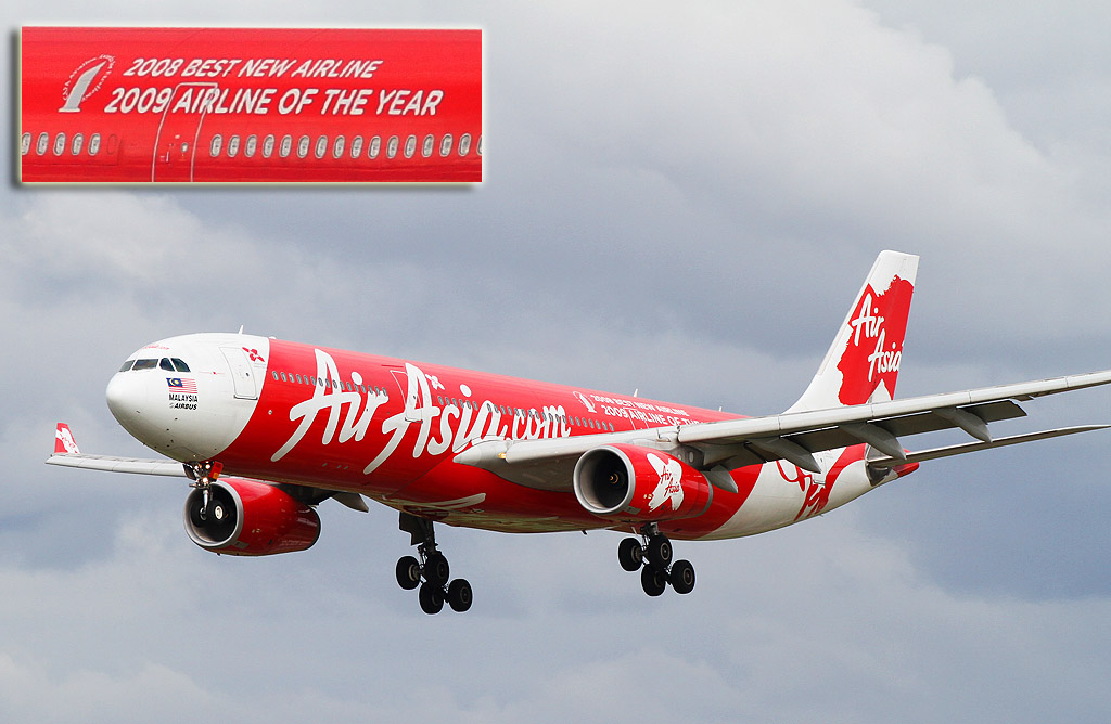 """9M-XXE Airbus A330-343E (cn 1075) of AirAsia X, named """"Pioneering Xpedition"""" at Perth Airport - Wed 14 August 2013."""