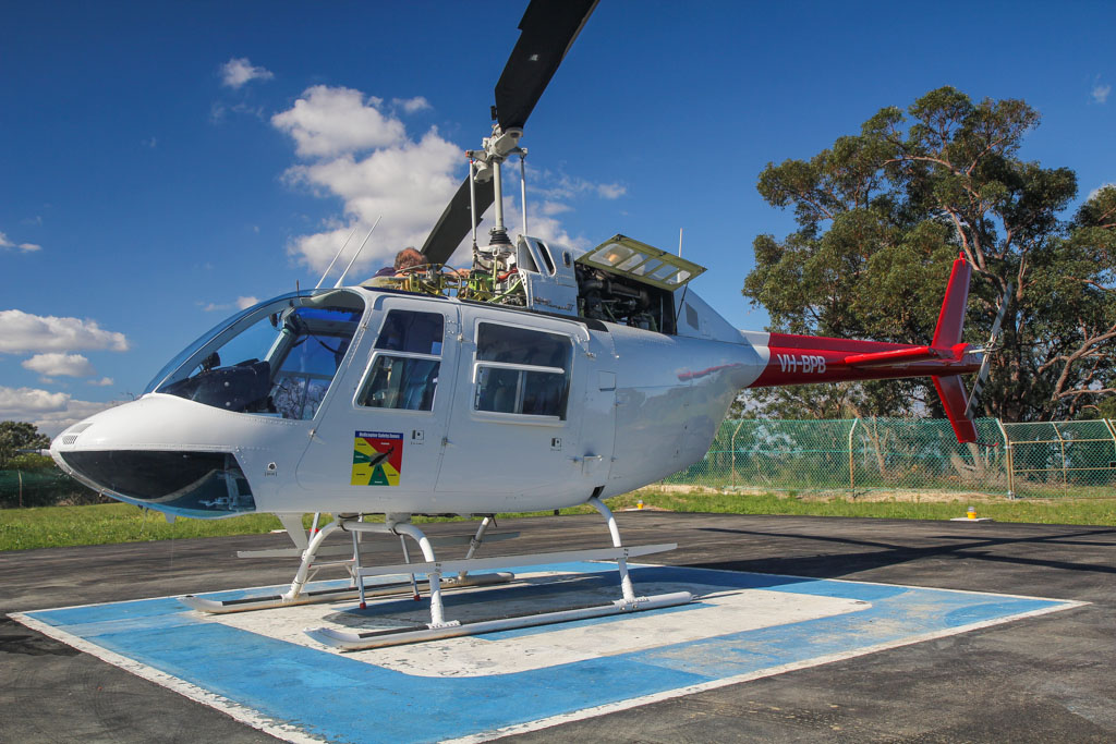 VH-BPB Bell 206B JetRanger III (MSN 3093) of Channel 9 News (leased from Prestige Helicopters) at Channel 9 Studios Helipad, Dianella - Wed 21 August 2013.