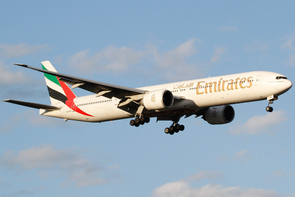 A6-EBK Boeing 777-31H ER (MSN 34481/549) of Emirates at Perth Airport - Sat 24 August 2013.