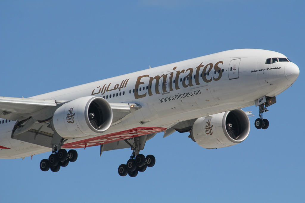 A6-EWH Boeing 777-21H LR (MSN 35587/747) of Emirates at Perth Airport – Sat 24 August 2013.