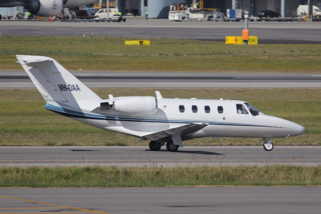 VH-DAA Cessna 525 CitationJet (cn 525-0138) of Maxem Aviation at Perth Airport – Sat 24 August 2013.