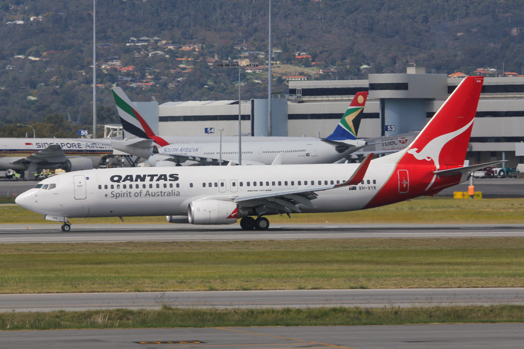"VH-VYK Boeing 737-838 (MSN 34183/1846) of Qantas, named ""Moree"", at Perth Airport – Sat 24 August 2013."