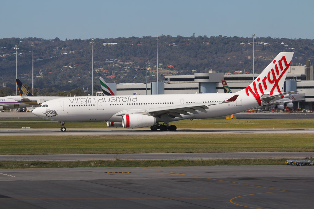 "VH-XFE Airbus A330-243 (cn 1319) of Virgin Australia, named ""Manly Beach"" at Perth Airport - Sat 24 August 2013."