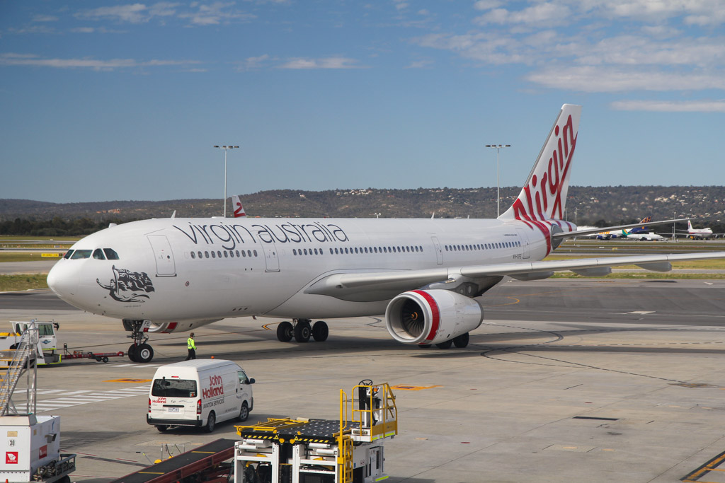 """VH-XFE Airbus A330-243 (cn 1319) of Virgin Australia, named """"Manly Beach"""" at Perth Airport - Sat 24 August 2013."""