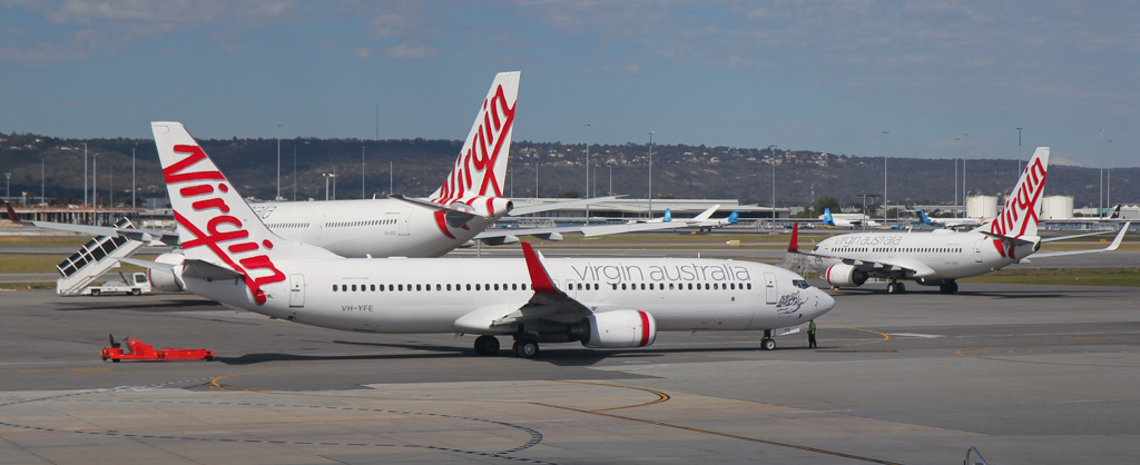 """VH-YFE Boeing 737-81D (MSN 39414/3623) of Virgin Australia (leased from AWAS), named """"Sunshine Beach"""" at Perth Airport – Sat 24 August 2013."""