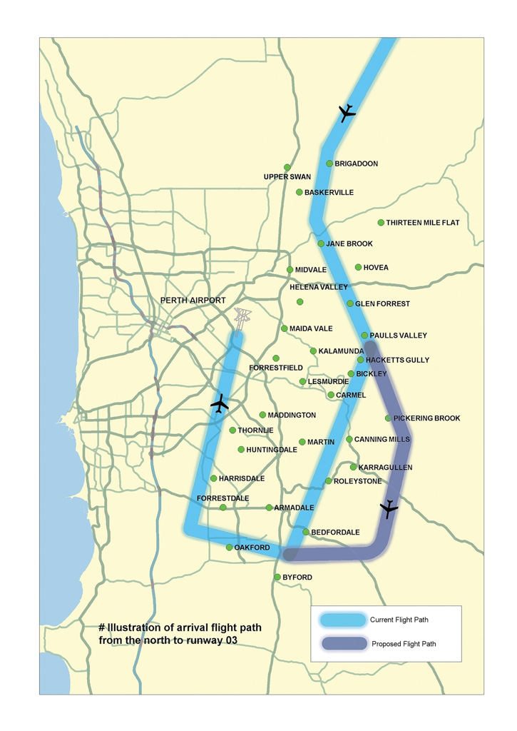 Current and proposed flight paths for Perth Airport runway 03 arrivals from north - Aug 2013.