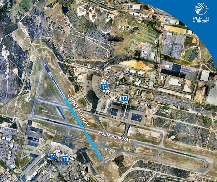 Aerial photograph of Perth Airport, showing the area being resurfaced between August 2013 and March 2014.