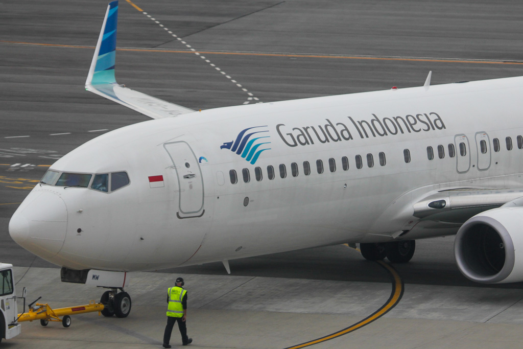 PK-GMW Boeing 737-8U3 (MSN 38069/4026) of Garuda Indonesia at Perth Airport – Mon 2 September 2013.