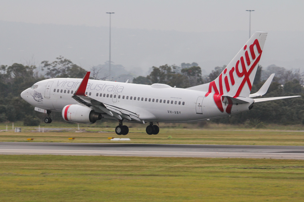 "VH-VBY Boeing 737-7FE (MSN 34323/1751) of Virgin Australia, named ""Kingston Beach"" at Perth Airport – Mon 2 September 2013."