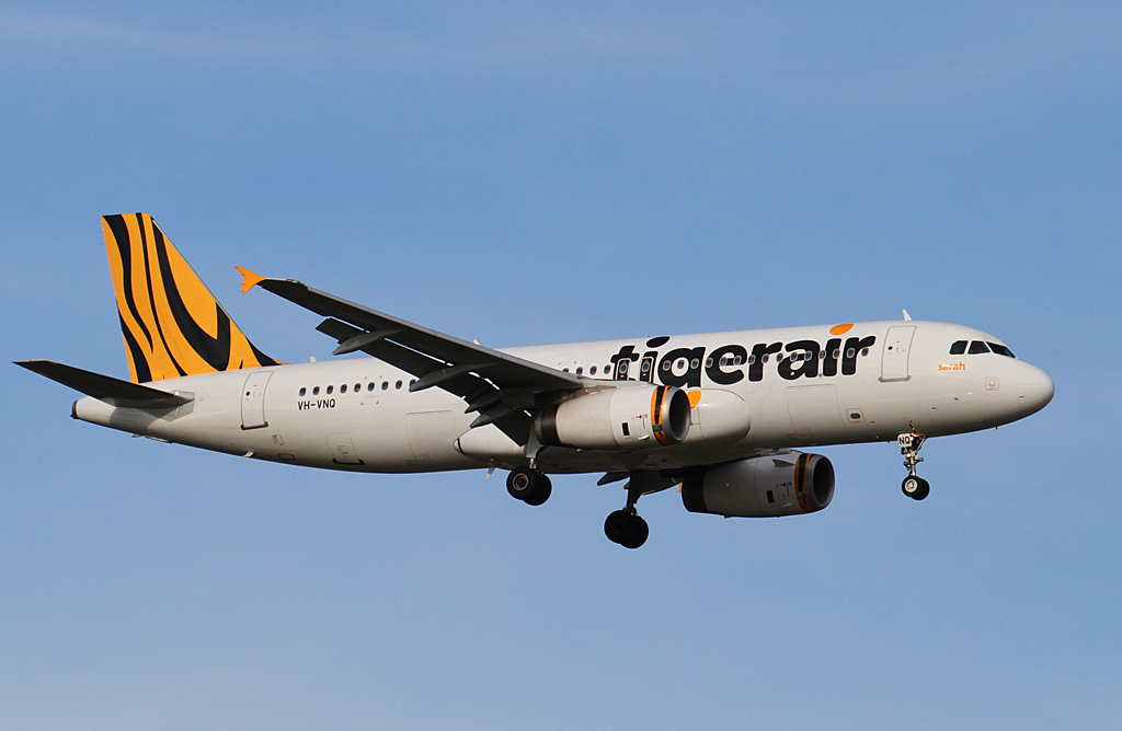 "VH-VNQ Airbus A320-232 (MSN 5218) of Tigerair Australia, named ""Sarah"", at Perth Airport - Sun 8 September 2013."