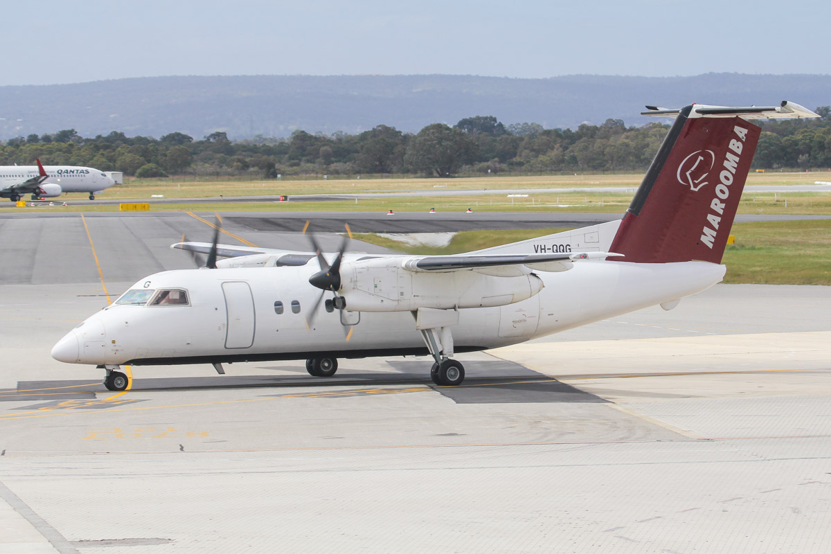 VH-QQG De Havilland Canada DHC-8-102 Dash 8 (MSN 036) of Maroomba Airlines (leased from Skytrans Airlines) at Perth Airport - Fri 27 September 2013.