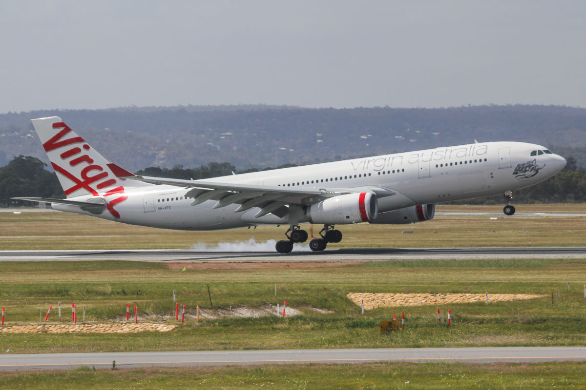 "VH-XFG Airbus A330-243 (MSN 1407) of Virgin Australia, named ""Terrigal Beach"" at Perth Airport - Fri 27 September 2013."