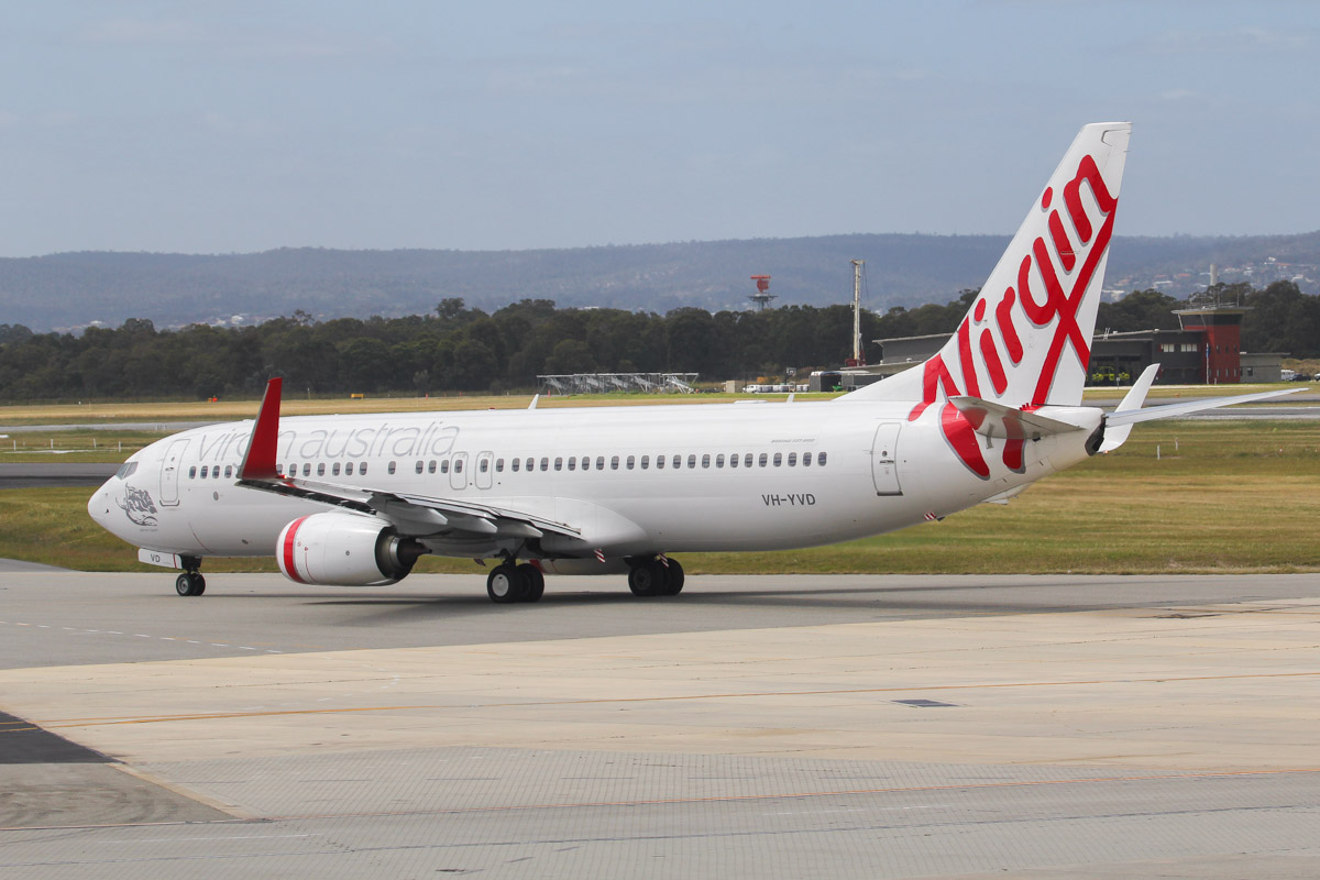 "VH-YVD Boeing 737-8FE (MSN 40998/3848) of Virgin Australia, named ""Salmon Beach"" at Perth Airport - Fri 27 September 2013"