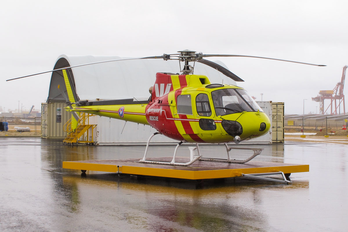 VH-ELR Eurocopter AS350BA Squirrel (MSN 2151, ex JA9790) of Surf Life Saving Western Australia Inc, (leased from Surf Life Saving Queensland Inc), at Fremantle Heliport (YFTL) - Sat 14 September 2013.