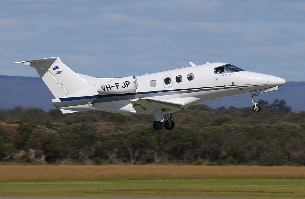 VH-FJP Embraer 500 Phenom 100 (MSN 50000237) of China Southern West Australian Flying College (Operated by Revesco Aviation) at Jandakot Airport – Mon 30 September 2013.