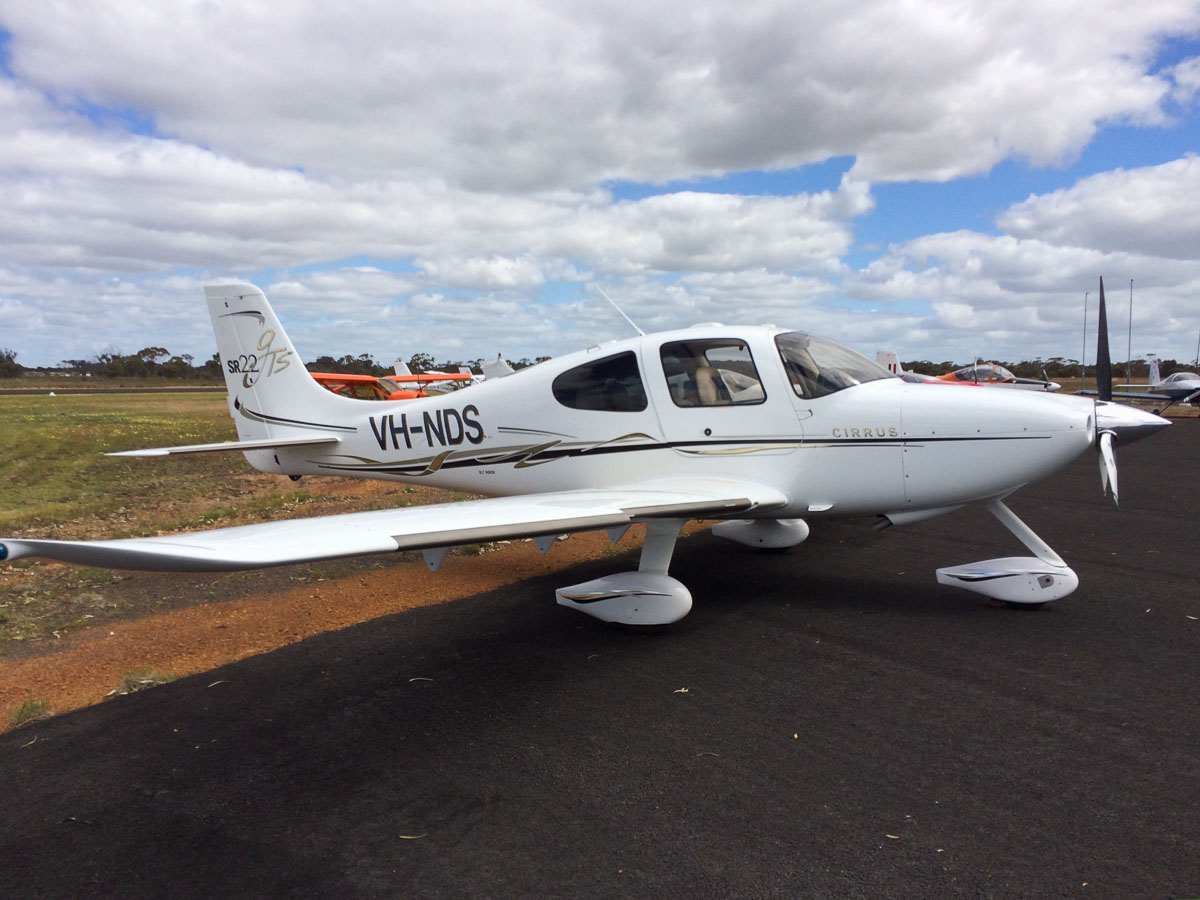 VH-NDS Cirrus SR22-GTS (MSN 1969) owned by Wiseyield Investments Pty Ltd at New Runway Opening Fly In, Wagin Airfield - Sat 12 October 2013.