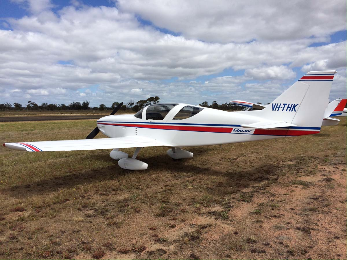 VH-THK Glasair II-S-FT (MSN N207), flown by Ralph Lerch at New Runway Opening Fly In, Wagin Airfield - Sat 12 October 2013.