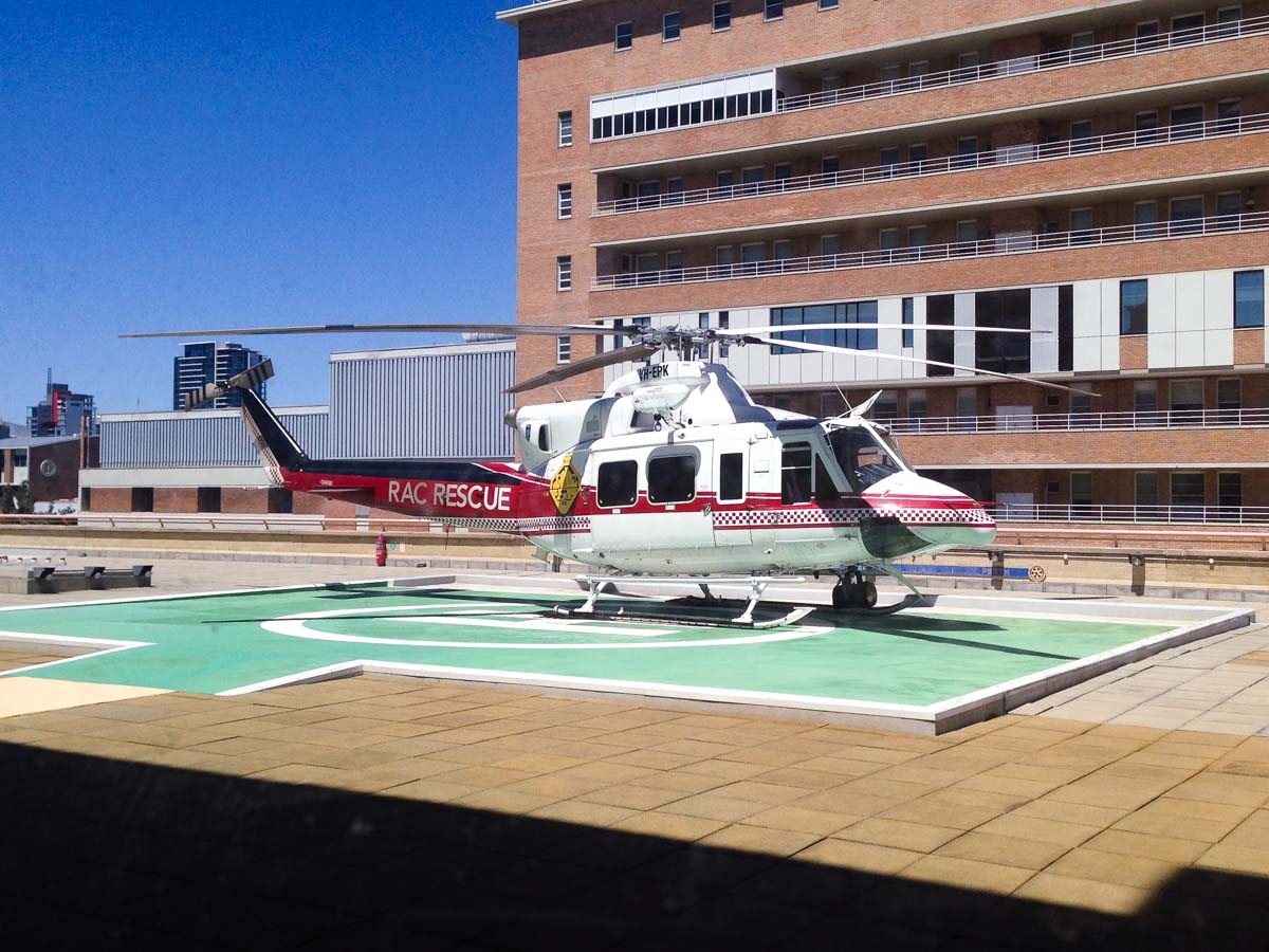 VH-EPK Bell 412EP (cn 36100) of CHC Helicopters, on lease to the WA Department of Fire and Emergency Services as 'RAC RESCUE' at Royal Perth Hospital Helipad (YXRP) – Tue 22 October 2013