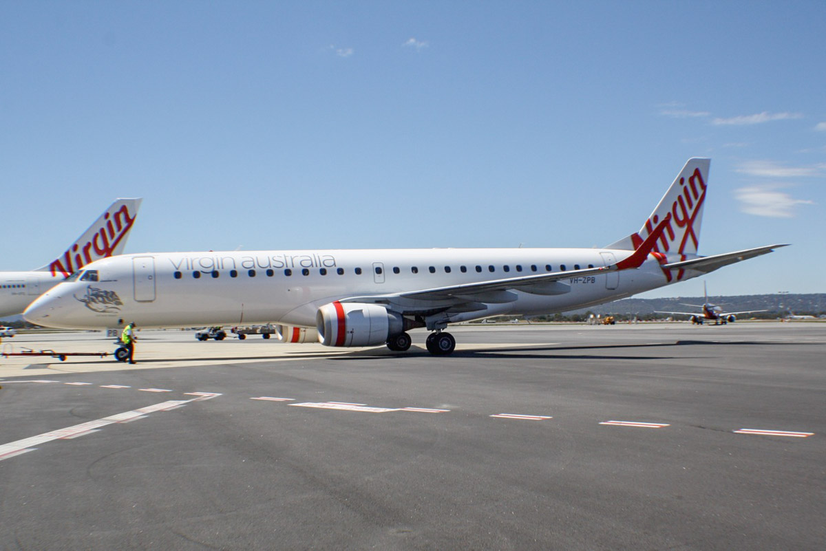 "VH-ZPB Embraer 190AR (ERJ-190-100IGW) (MSN 19000162) of Virgin Australia, named ""Bicheno Beach"" at Perth Airport – Thu 24 October 2013."