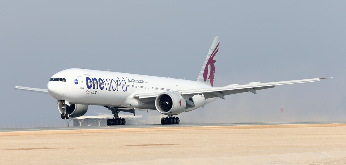 A7-BAA Boeing 777-3DZER (MSN 36009/676) of Qatar Airways (leased from Al Khattuya Leasing) in Oneworld livery at Doha - 29 October 2013