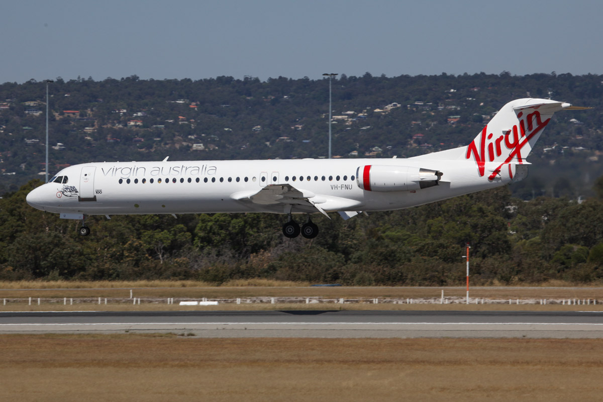 "VH-FNU Fokker 100 (MSN 11373) of Virgin Australia Regional Airlines, named ""Roebuck Bay"", at Perth Airport – Sun 10 November 2013."