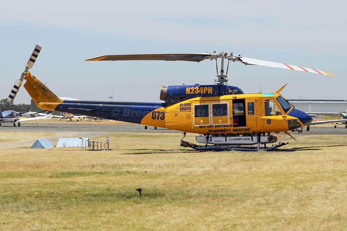 N234PH/HELITAC 673 Bell 214B-1 BigLifter (MSN 28050) of McDermott Aviation, leased by Department of Fire and Emergency Services, at Jandakot Airport – Mon 11 November 2013.