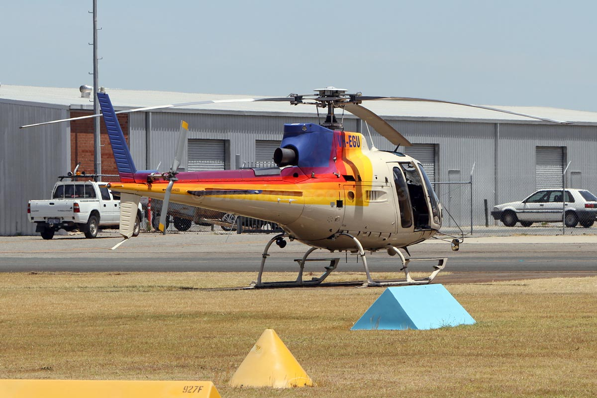VH-EGU (FIREBIRD 620) Eurocopter AS350B2 Squirrel Soloy SD2 (MSN 3201) owned by Pacific Crown Helicopters, Caloundra, QLD, leased to Department of Fire and Emergency Services, at Jandakot Airport - Mon 11 November 2013.
