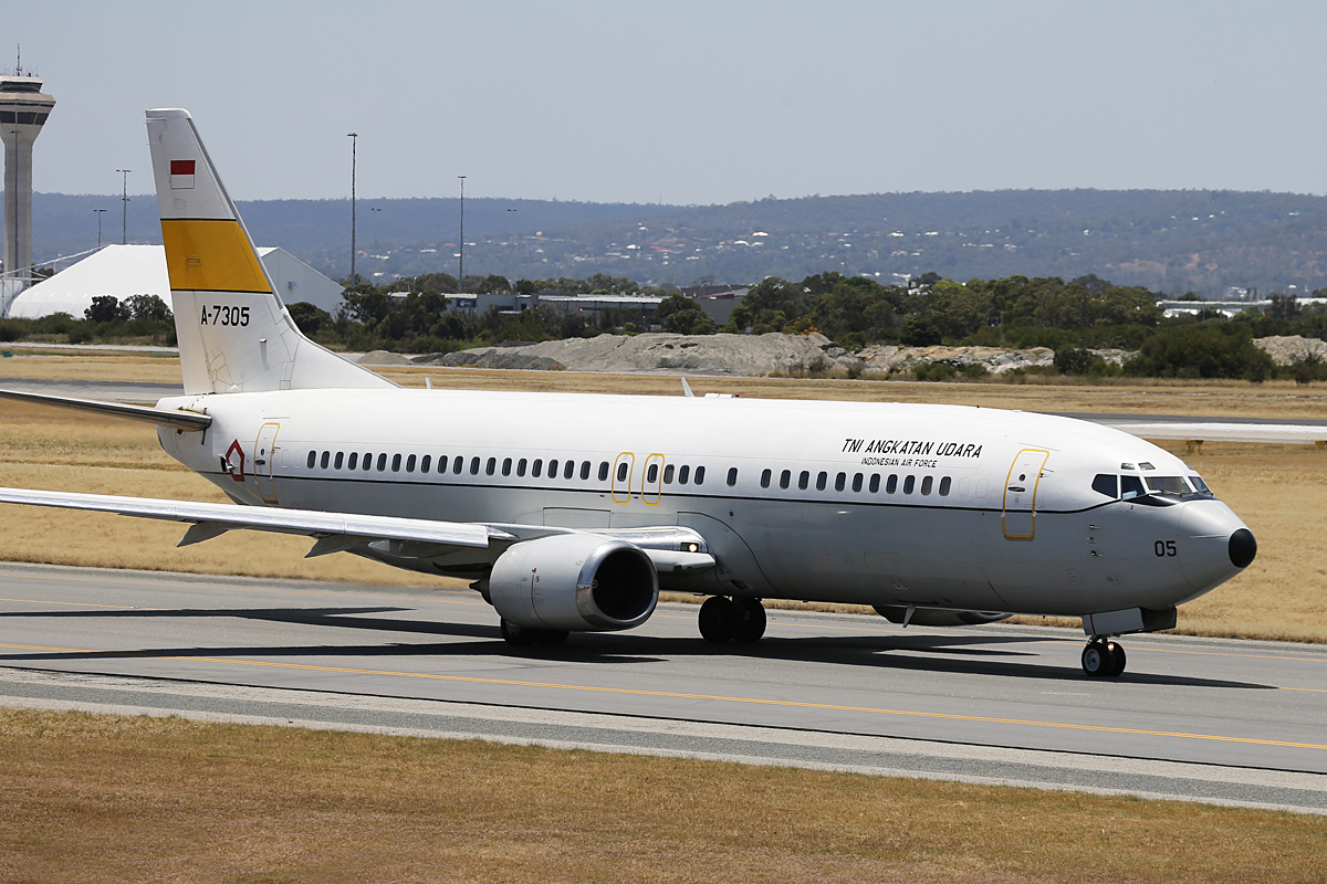 A-7305 Boeing 737-4U3 (MSN 25714/2535) of 17 Sqn, Indonesia Air Force (TNI-AU), based at Halim, at Perth Airport – Sat 16 November 2013.