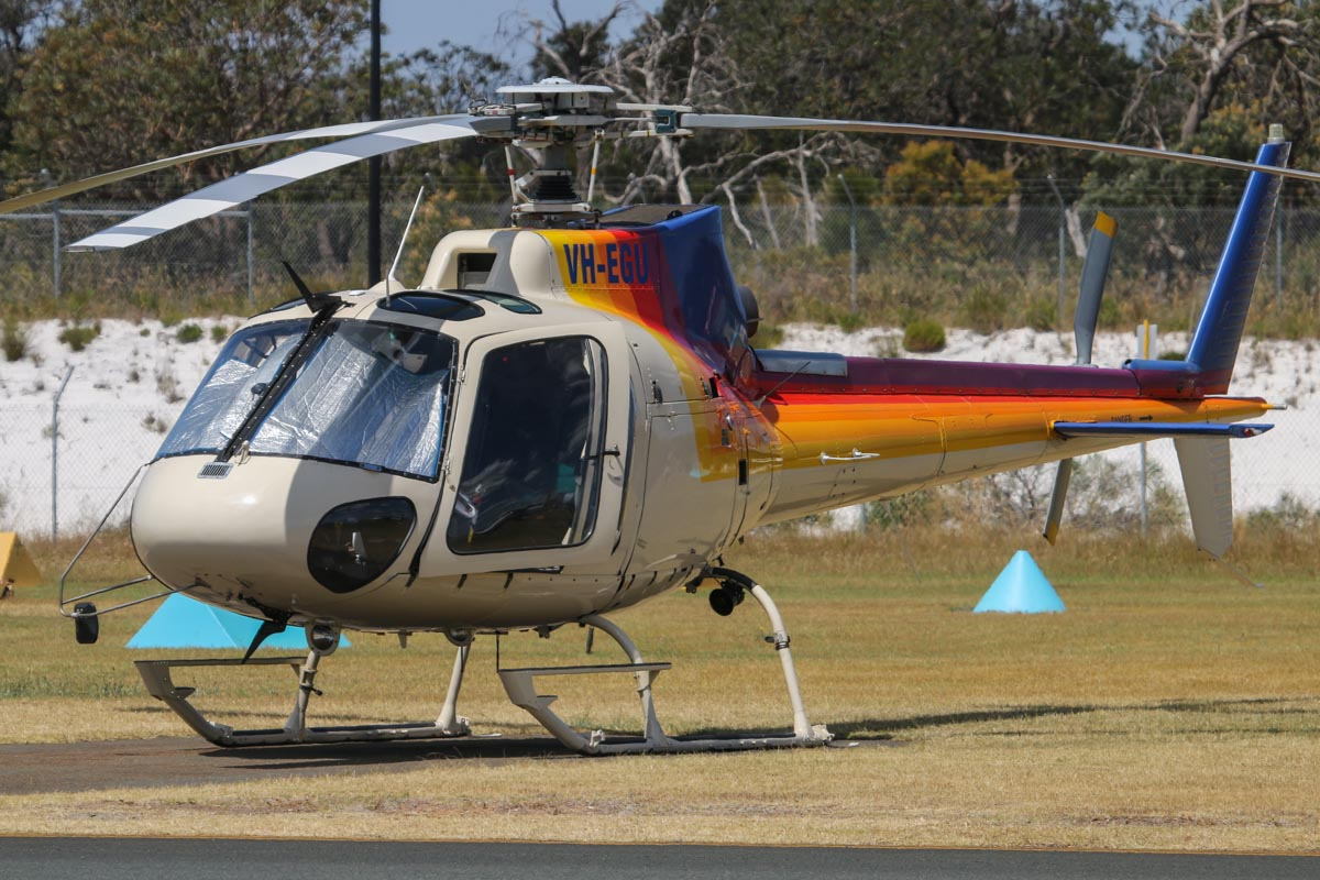 VH-EGU (FIREBIRD 620) Eurocopter AS350B2 Squirrel Soloy SD2 (MSN 3201) owned by Pacific Crown Helicopters, Caloundra, QLD, leased to Department of Fire and Emergency Services, at Jandakot Airport – Thu 21 November 2013.