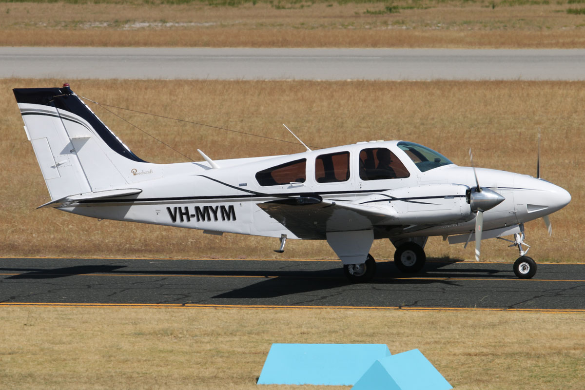 VH-MYM Beech Baron 95-B55 (MSN TC-1777) owned by Exclusive Contracting (WA) Pty Ltd, at Jandakot Airport - Thu 21 November 2013.