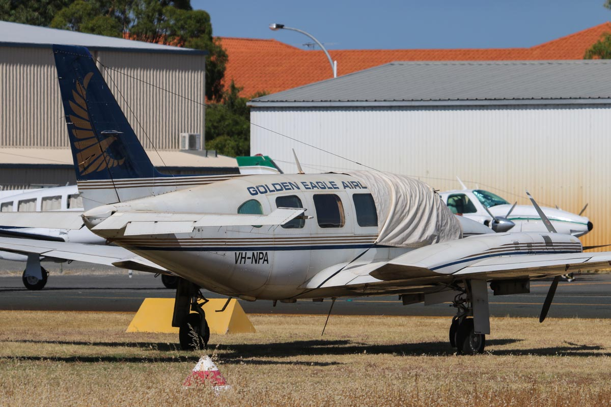 VH-NPA Piper PA-31-350 Navajo Chieftain (MSN 31-8452016) of Golden Eagle Aviation, at Jandakot Airport – Sat 23 November 2013.