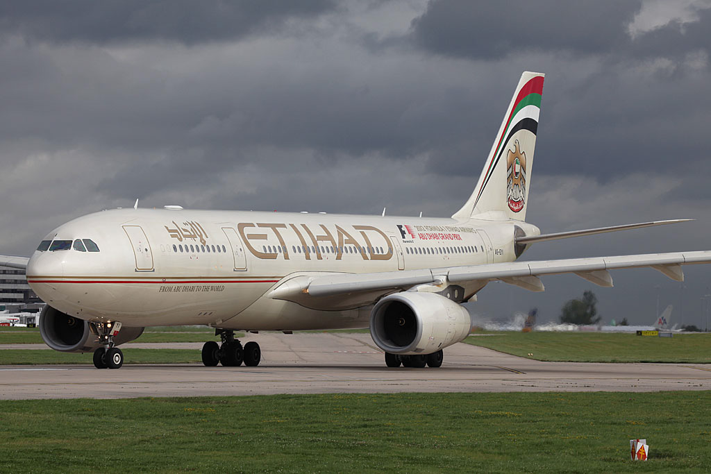 A6-EYI Airbus A330-243 (MSN 730) of Etihad, at Manchester Airport, UK - 22 August 2012.