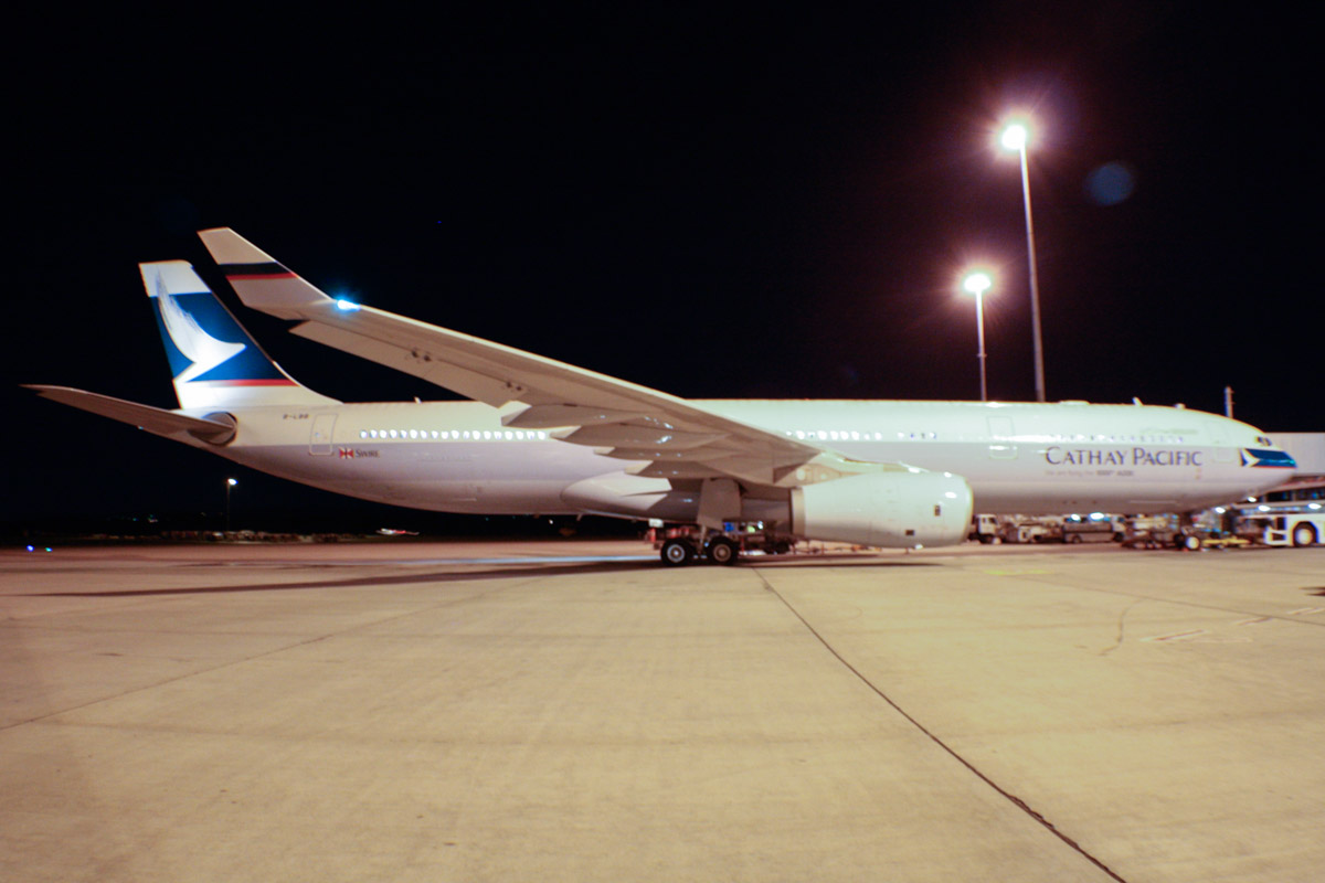 """B-LBB Airbus A330-343X (MSN 1436) of Cathay Pacific, with """"We are flying the 1000th A330″ titles, at Perth Airport - Thu 22 August 2013."""