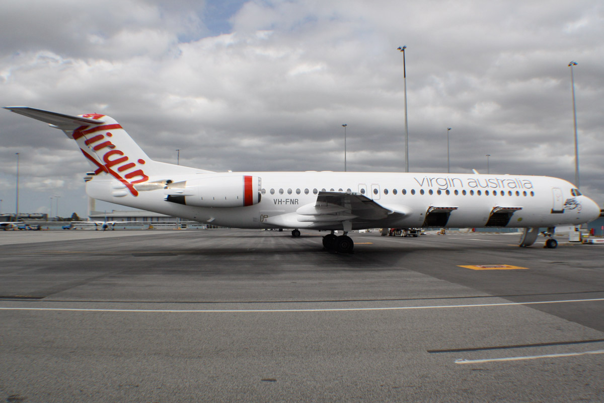 "VH-FNR Fokker 100 (MSN 11488) of Virgin Australia Regional Airlines, named ""Lake Argyle"" at Perth Airport – Mon 16 September 2013."