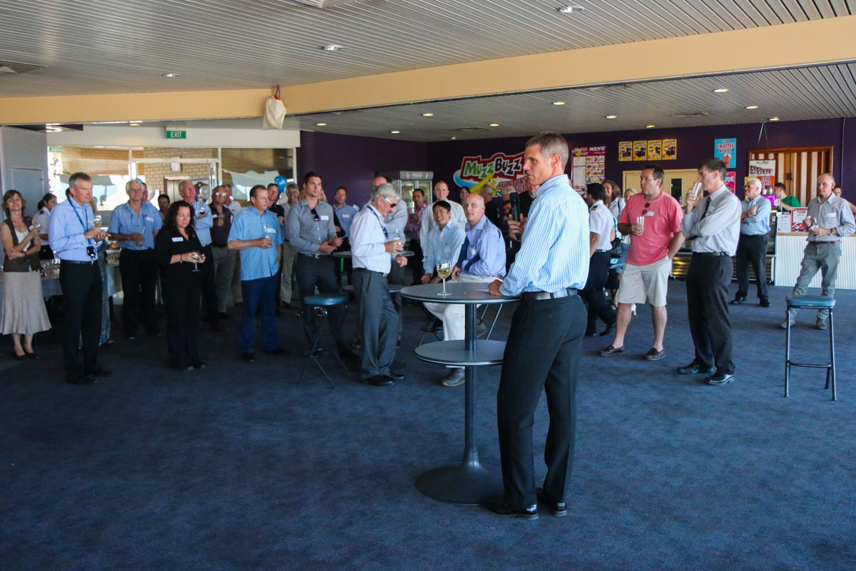 John Fraser, Managing Director of Jandakot Airport Holdings, delivering a speech to guests at a celebration held in the Royal Aero Club of Western Australia, to mark the 50th Anniversary of Jandakot Airport - Thu 21 November 2013.