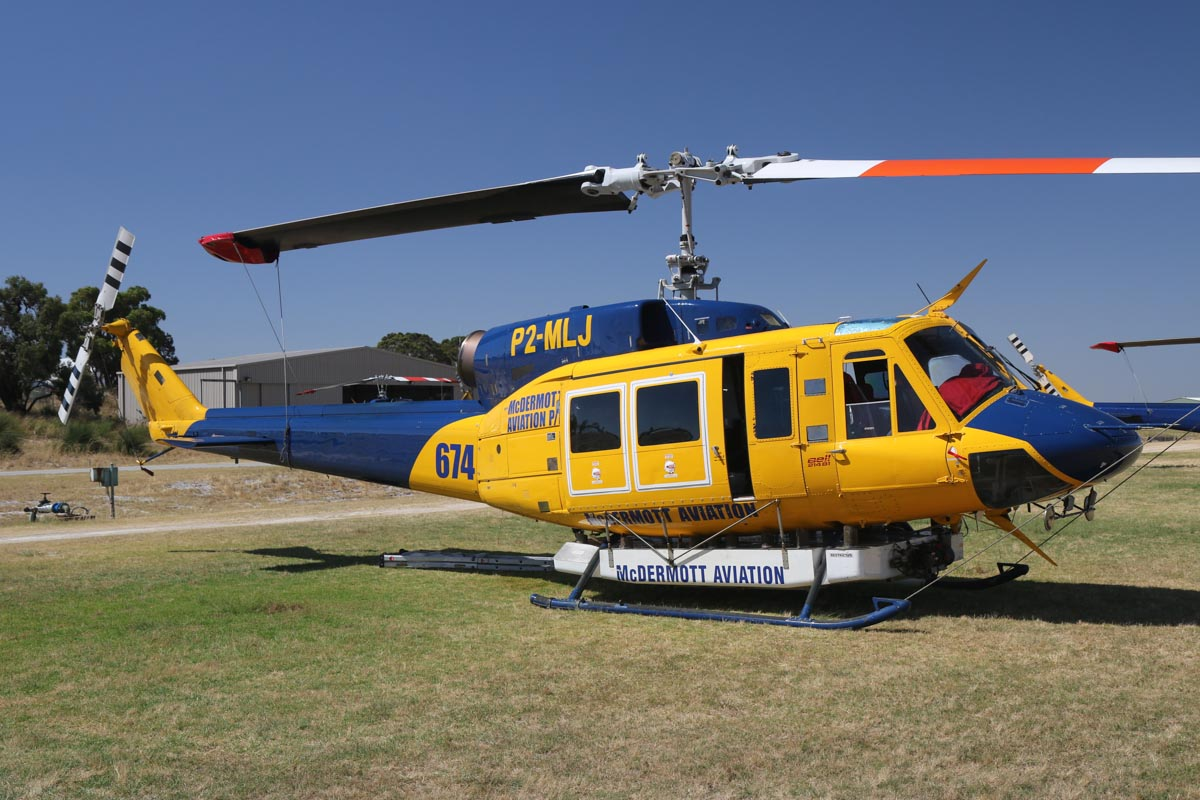 P2-MLJ / HELITAC674 Bell 214B1 BigLifter (MSN 28066) owned by McDermott Aviation, leased by Department of Fire and Emergency Services at Jandakot Airport – Tue 3 December 2013