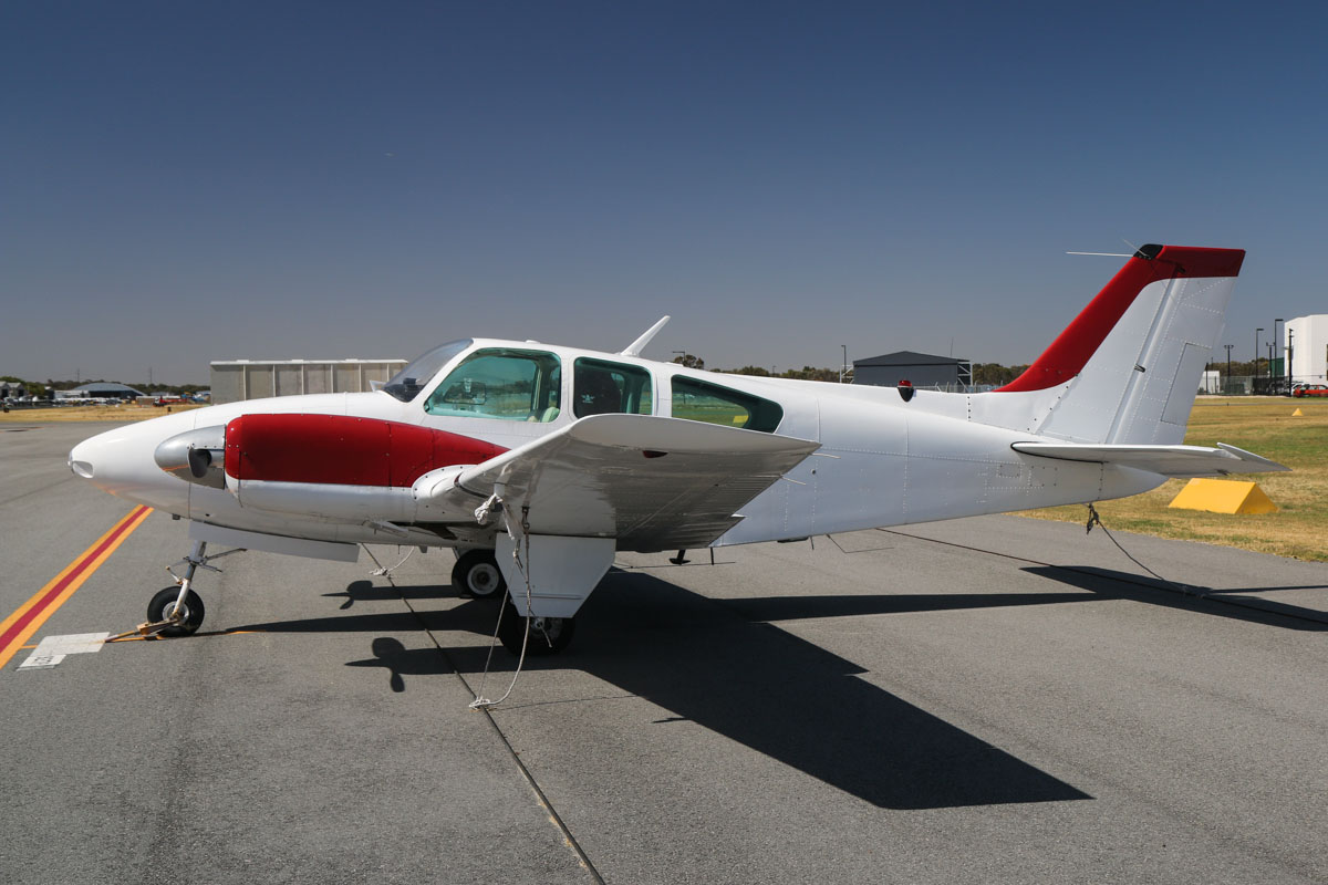 VH-IIA Beech Baron 95-55 (MSN TC-128) owned by Kevin Chen, at Jandakot Airport - Tue 3 December 2013. Photo © David Eyre
