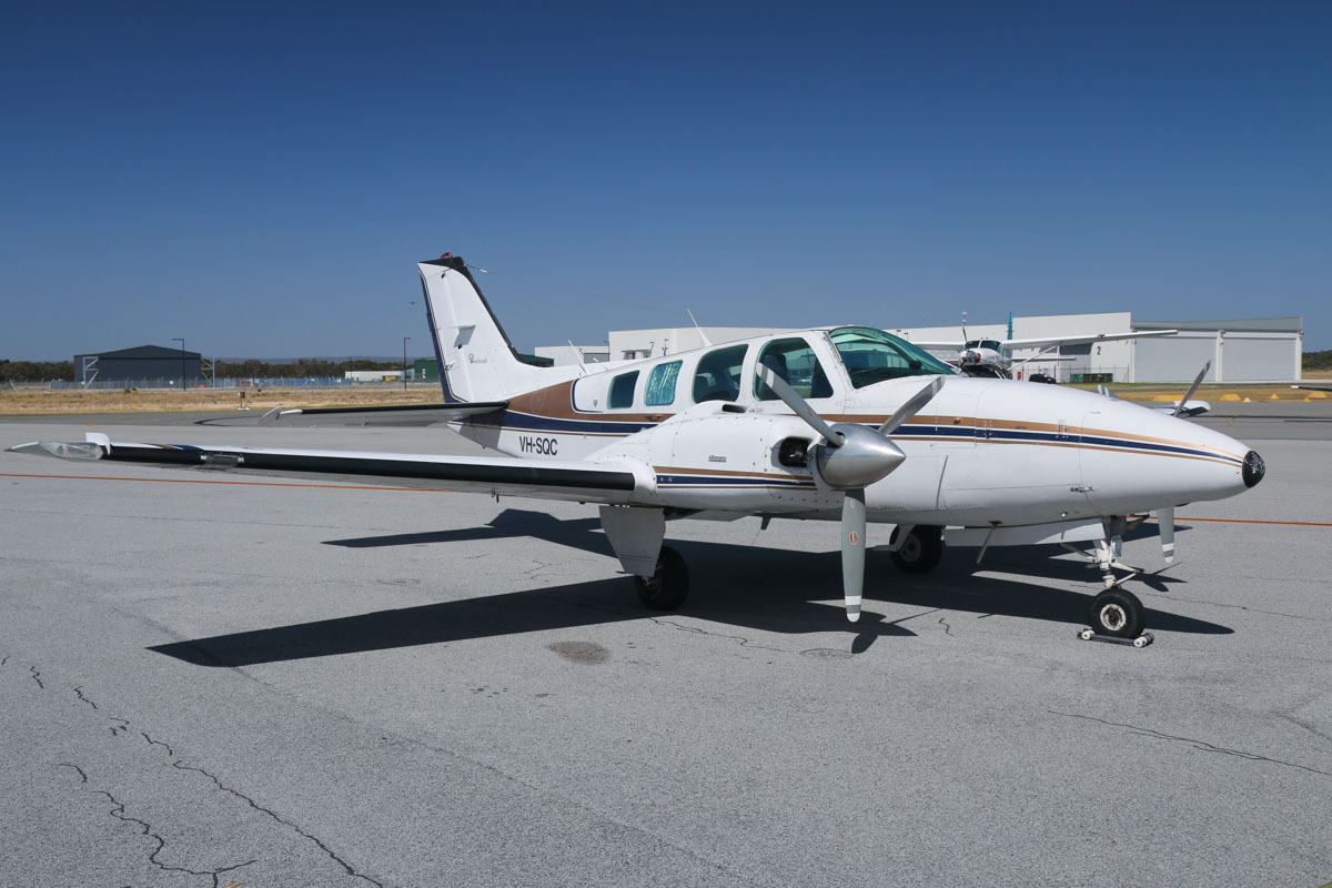 VH-SQC Beech 58 Baron (MSN TH-1213) of Thunderbird Aviation Academy (Jetfield Nominees Pty Ltd), leased from Air Phoenix International, at Jandakot Airport – Tue 3 December 2013