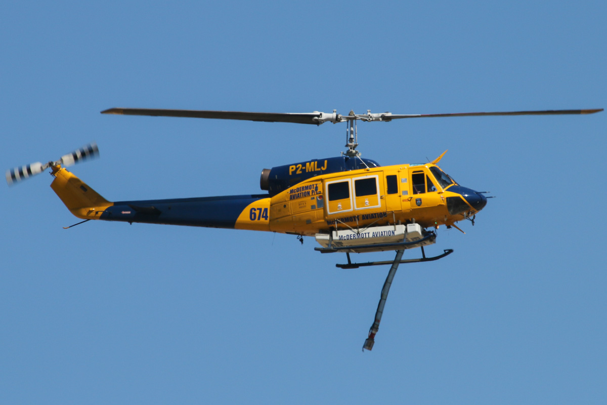 P2-MLJ / HELITAC674 Bell 214B1 BigLifter (MSN 28066) owned by McDermott Aviation, leased by Department of Fire and Emergency Services at Jandakot Airport – Mon 9 December 2013