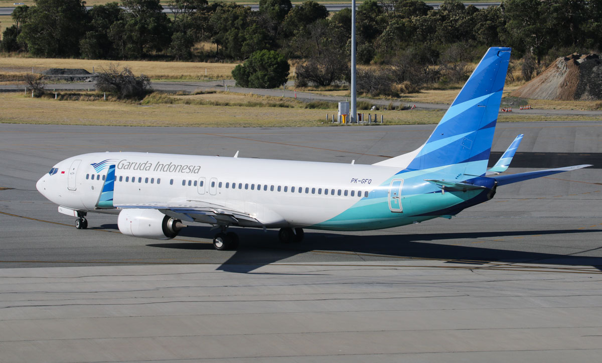PK-GFQ Boeing 737-81D (MSN 39416/3766) of Garuda Indonesia (leased from AWAS), at Perth Airport - Thu 12 December 2013.