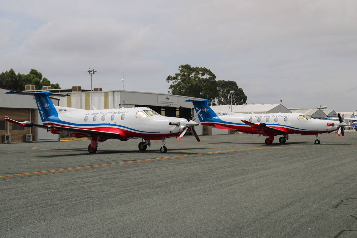 VH-OWJ Pilatus PC-12/47E (MSN 1411) and VH-OWS Pilatus PC-12/47E (MSN 1428) owned by Royal Flying Doctor Service (Western Operations), at Jandakot Airport, Tue 17 December 2013.