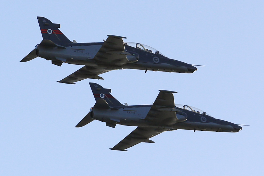 A27-15 (MSN DT15) & A27-16 (MSN DT-16) BAE Systems Hawk 127 of 79 Squadron, RAAF at the Australia Day Air Show, Over Swan River, Perth - Sat 26 January 2013. Photo © Matt Hayes