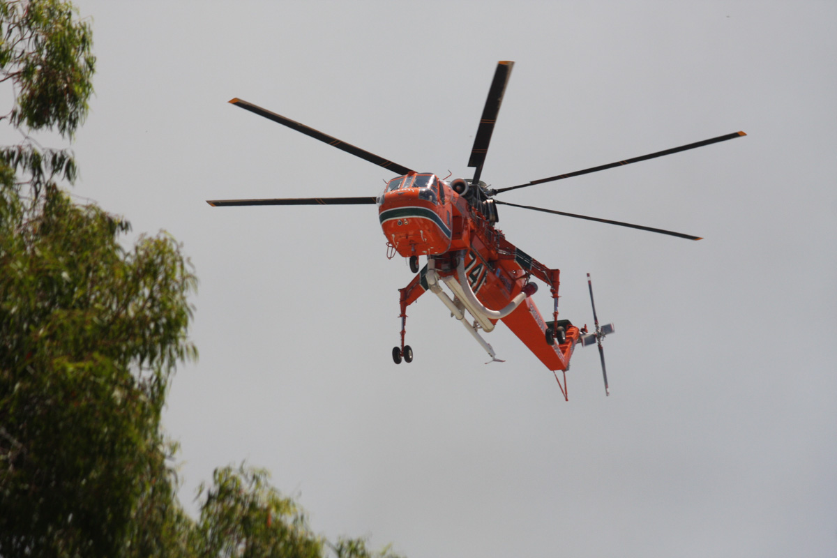 "N243AC / HELITAC741 Sikorsky S-64E Skycrane (cn 64022), named ""Marty"", owned by Erickson Air-Crane, on contract to DFES (Department of Fire & Emergency Services) at Jolimont – Sat 11 January 2014. Photo © Bruce Bramwell"