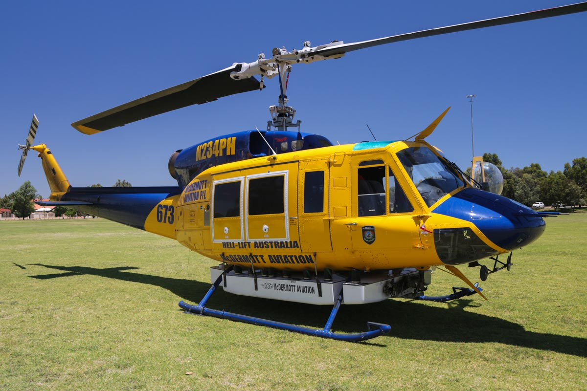 N234PH / HELITAC673 Bell 214B-1 Big Lifter (MSN 28050) of McDermott Aviation, on contract to the WA Department of Fire and Emergency Services, at Warradale Park, Landsdale - Sun 12 January 2014. Photo © David Eyre