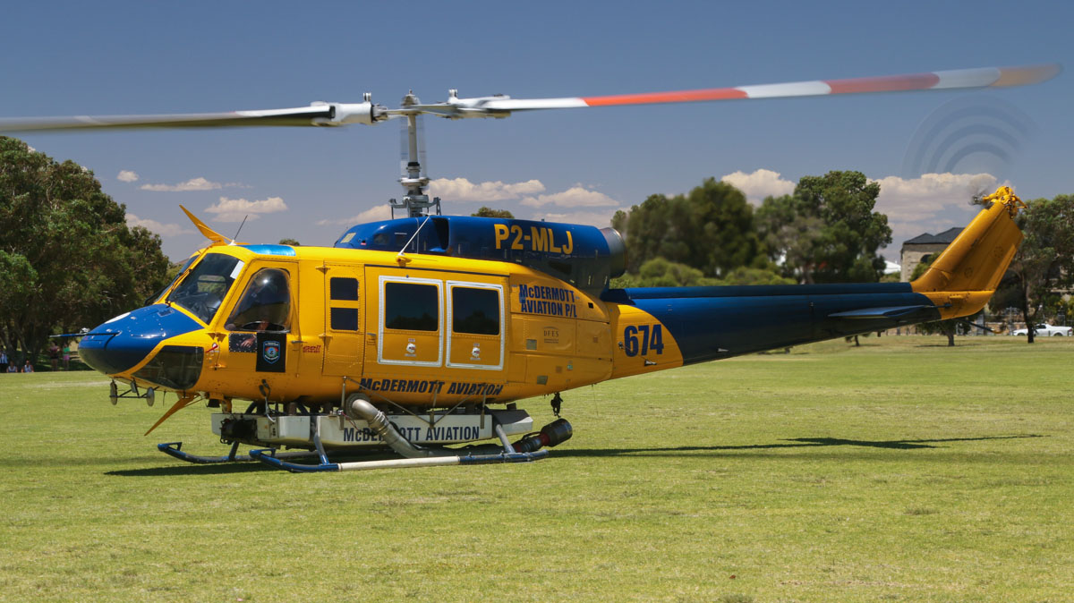 P2-MLJ / HELITAC674 Bell 214B1 BigLifter (MSN 28066) owned by McDermott Aviation, leased by Department of Fire and Emergency Services at Warradale Park, Landsdale - Sun 12 January 2014. Photo © David Eyre