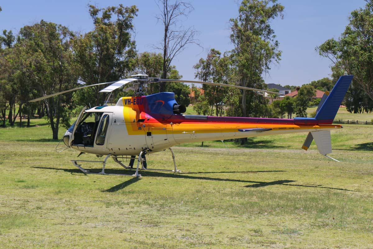 VH-EGU (FIREBIRD 620) Eurocopter AS350B2 Squirrel Soloy SD2 (MSN 3201) of Helicopter Logistics, leased from Pacific Crown Helicopters, leased to Department of Fire and Emergency Services, at Warradale Park, Landsdale - Sun 12 January 2014. Photo © David Eyre