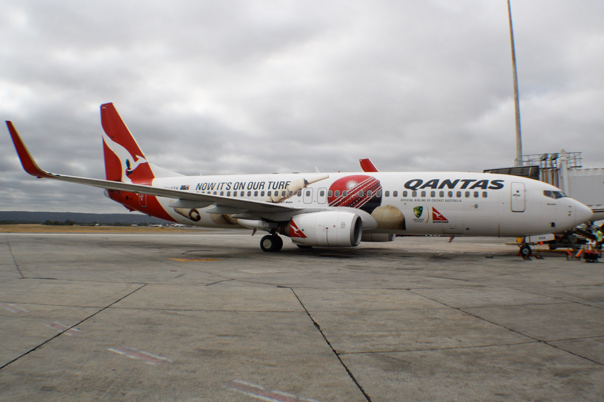 "VH-VXA Boeing 737-838 (MSN 29551/1042) of Qantas, named ""Broome"", with ""Now it's on our turf"" cricket special livery, at Perth Airport – Mon 13 January 2014. Photo © Wilson"